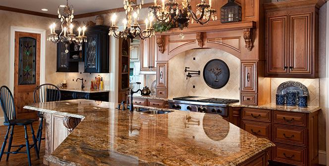 Polished granite countertop - inside a traditional American kitchen