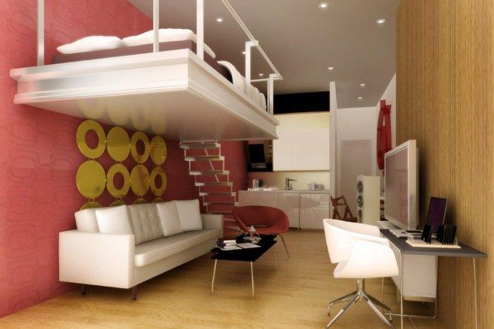 Practical small living room - with bed mounted on the wall