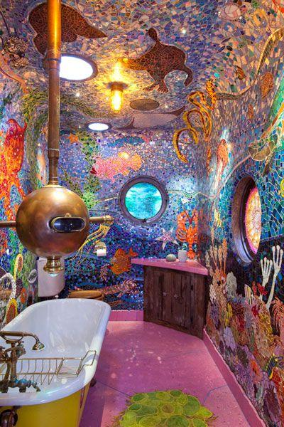 Psychedelic art tiles - for a bathroom looking like a submarine