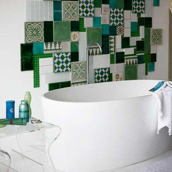 Random bathroom tiles - forming unique wall decor
