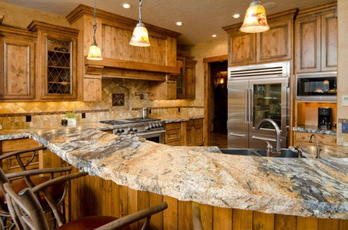 Raw granite countertop - placed on a bar counter