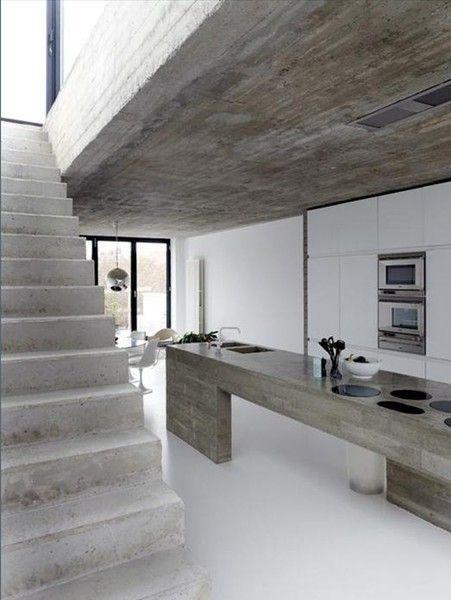 Raw industrial kitchen in ultra modern minimalist house for Industrial minimalist design