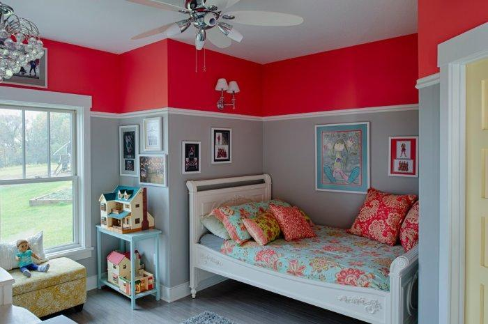Red and grey paint - inside a traditional kids room