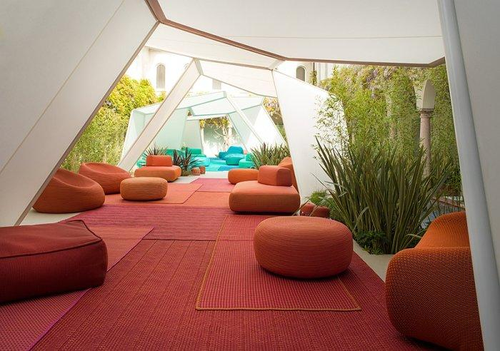 Red outdoor rugs - used in a tent
