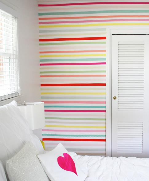 Red striped wall - inside a bedroom