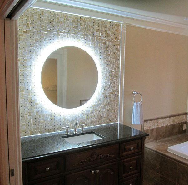 Round bathroom mirror - with illuminated background