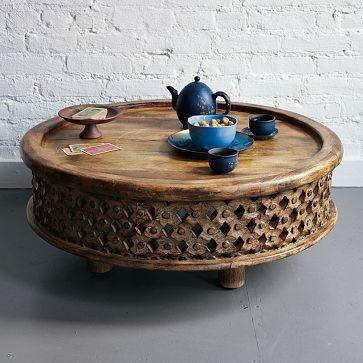 Round Wood Coffee Table   With Moroccan Accenst