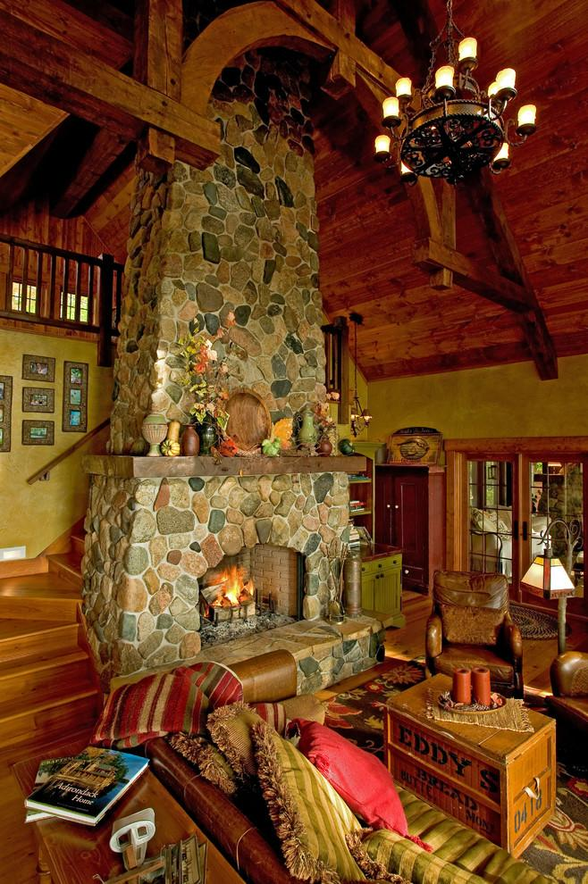 Rustic cabin with stone fireplace - ine the living room