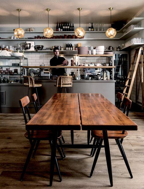 Scandinavian Cafe With Straight Wood Table Founterior
