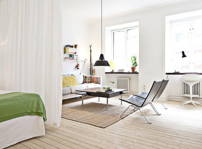 Scandinavian small apartment - with living room in white and black