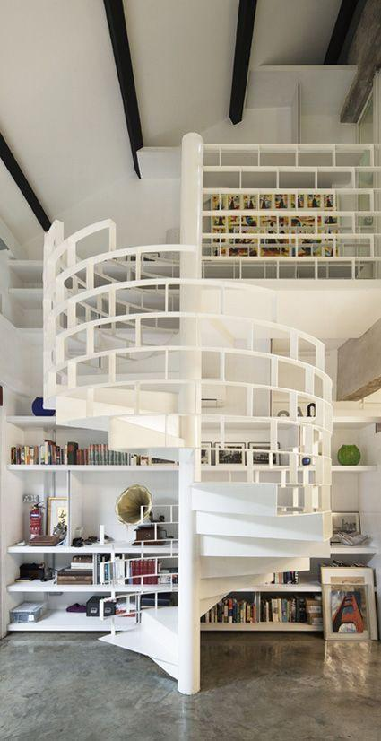 Scandinavian spiral staircase - with interesting railings