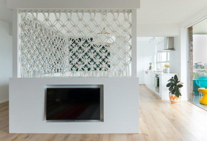 Separated small apartmen living room - in pure white color