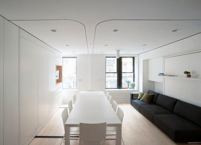 Small apartmen living and dining room - combined together in one volume