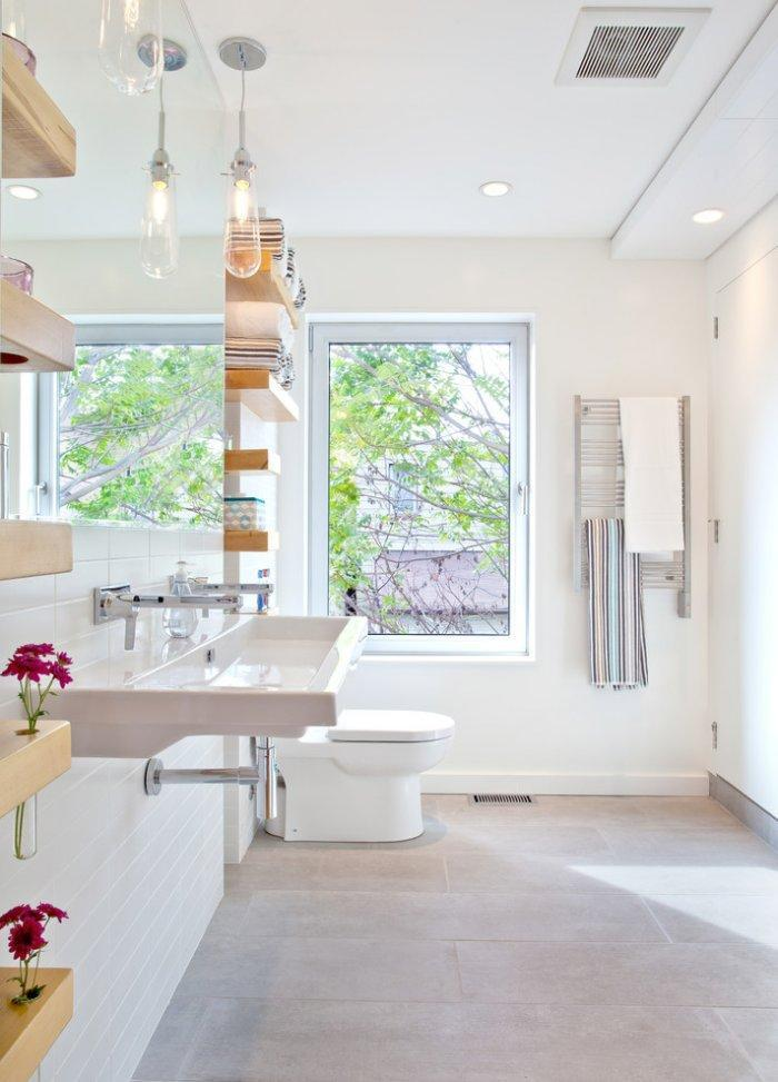 Small bathroom floating shelves - inside a sunny private room