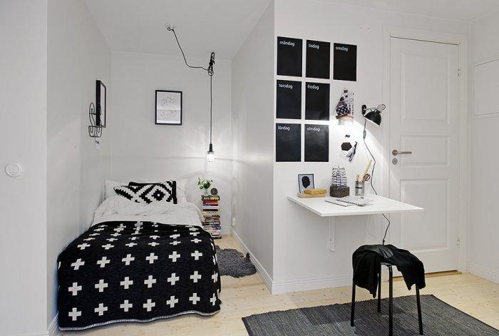 Small bedroom - in black and white colors