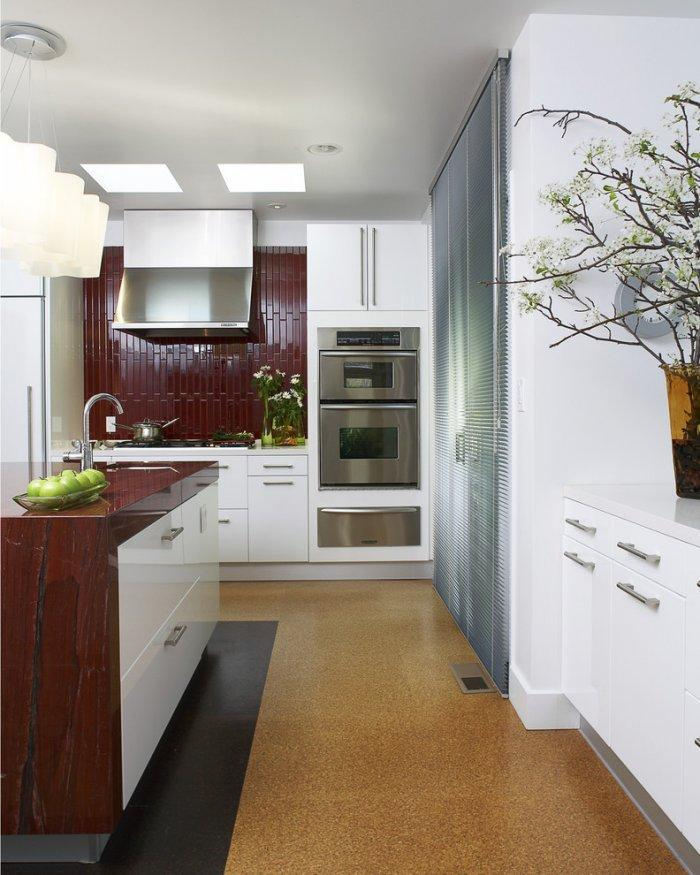 Small kitchen with cork tile flooring - of natural colored panels