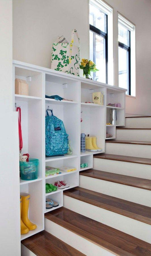 Small staircase with shelves - painted in white color