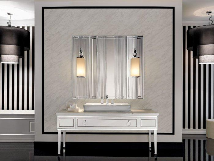 Square bathroom mirror - with two lamps for strong illumination