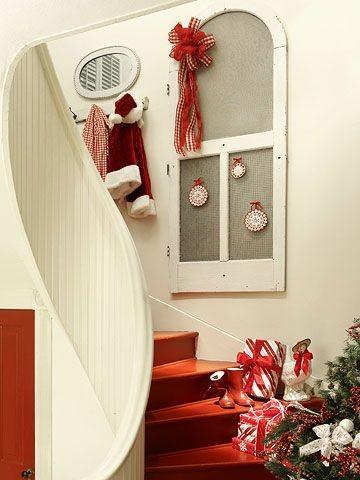 Staircase with Christmas decor - with lots of presents in red