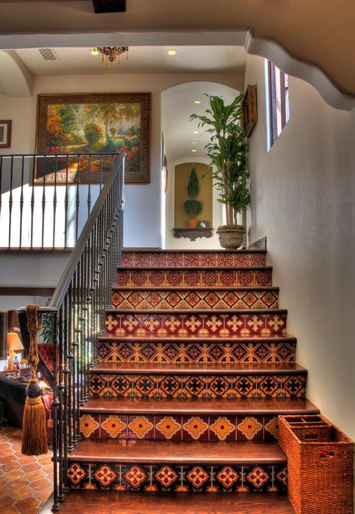 Staircase with ornate decor - mosaic design on the steps