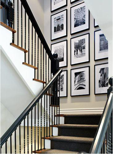 Staircase with photos - placed on the wall