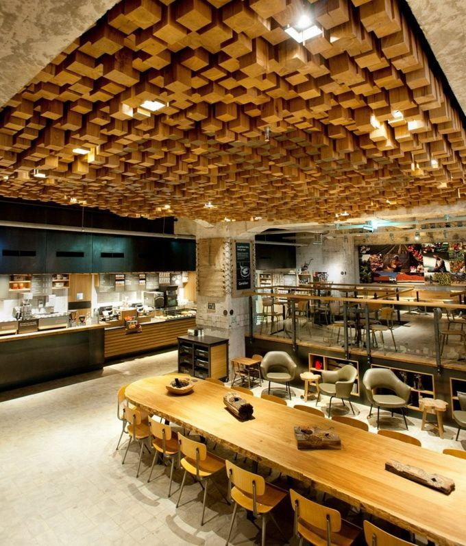 starbucks cafe design with amazing wooden ceiling - Cafe Design Ideas