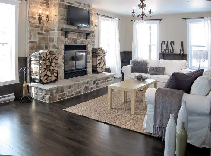 Stone cladded fireplace - inside a modern traditional living room