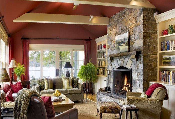 Stone fireplace - inside a small living room