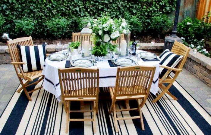 Striped Outdoor Rug In Dark Blue And White
