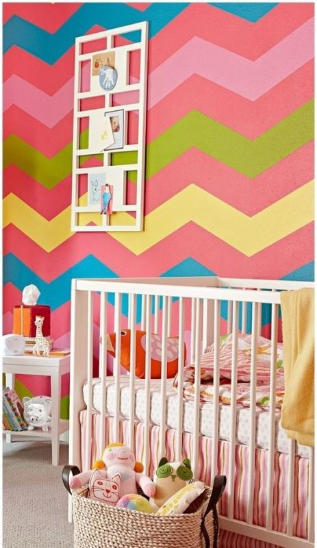 Striped paint - with yellow and pink colors