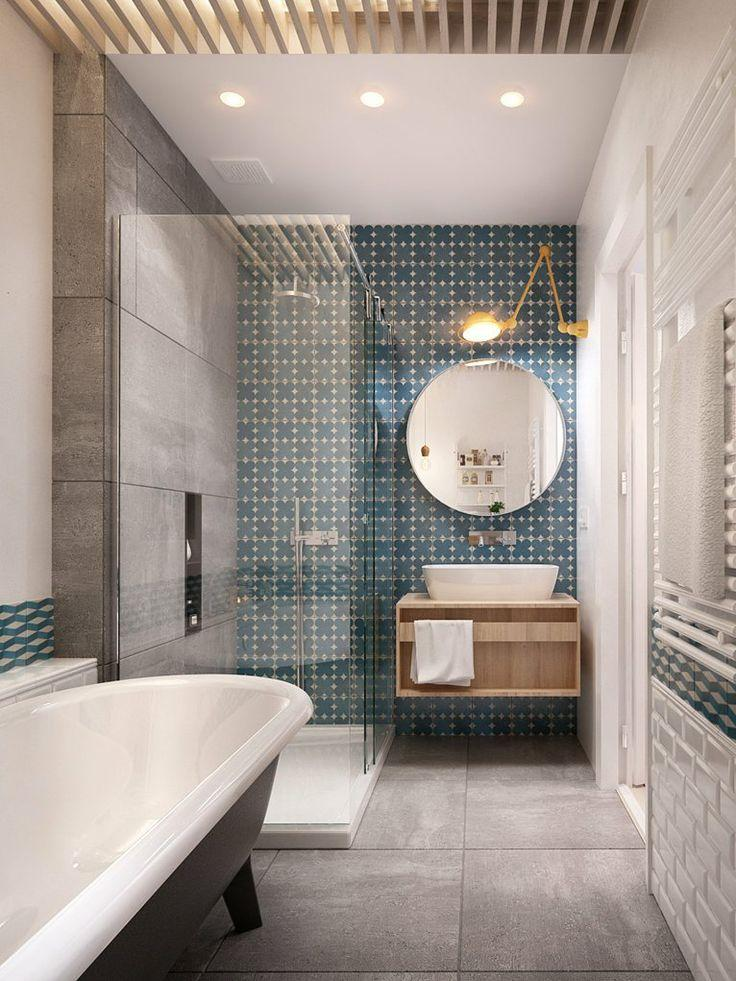 Stylish Bathroom With Bathtub And Glass Separators Founterior