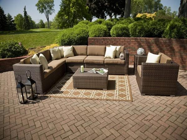 Stylish brown outdoor rug - for patio use