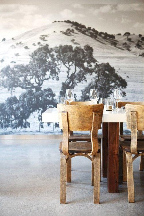 Stylish dining room - with impressive photo printed wallpaper