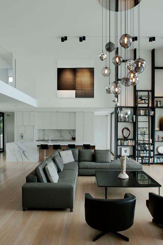 Stylish modern living room - with contemporary pendants and sofas