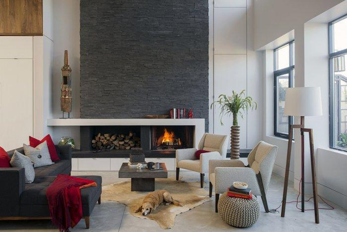 Stylish modern living room - with small fireplace with stone cladding