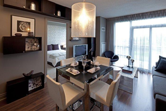 Stylish modern small apartment - in dark colors