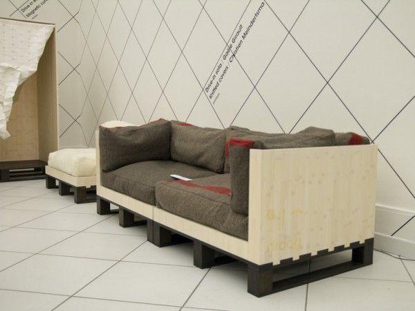 Stylish pallet sofa - in white and dark grey