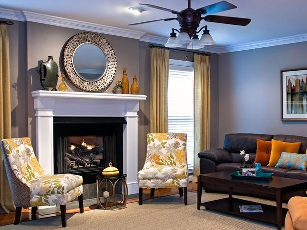 Traditional living room - with yellow colorful accents