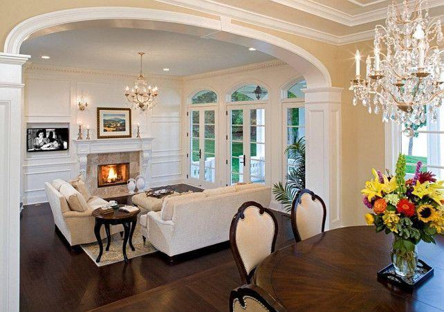 Traditional mansion living room - with fireplace and crystal chandeliers