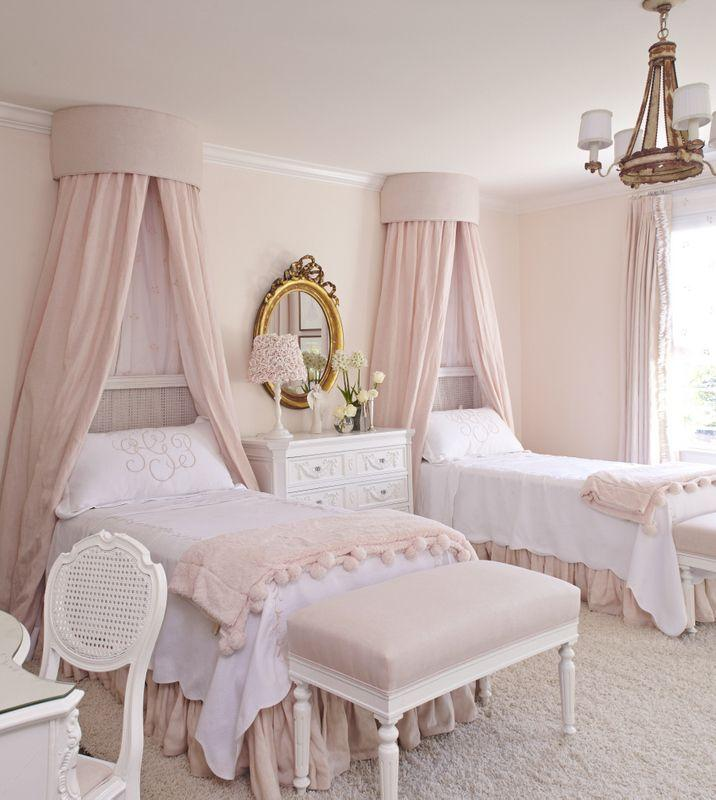 Traditional pink bedroom - with very pale colored walls