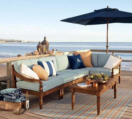 Traditional striped outdoor rug - with patio furniture