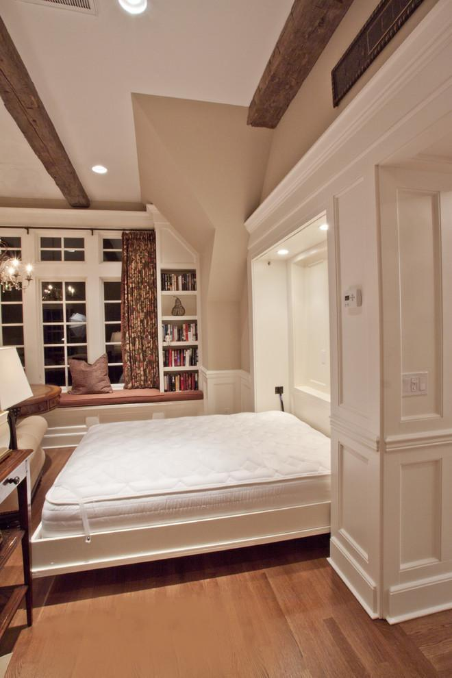 Traditional white murphy bed - in a stylish home