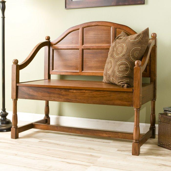 Traditional wood bench - with decorative cushion on it