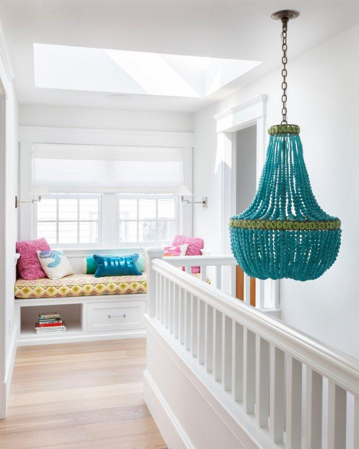 Turquoise chandelier - hanging from the second floor