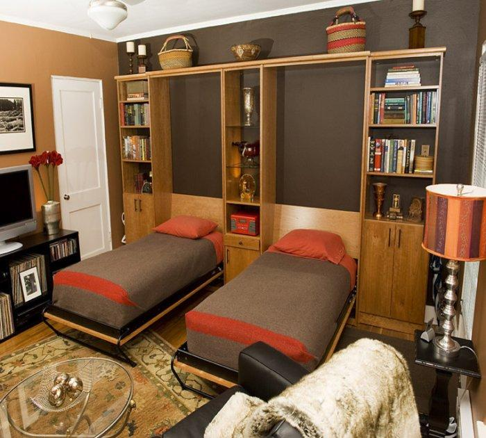 Two murphy beds - in a small bedroom