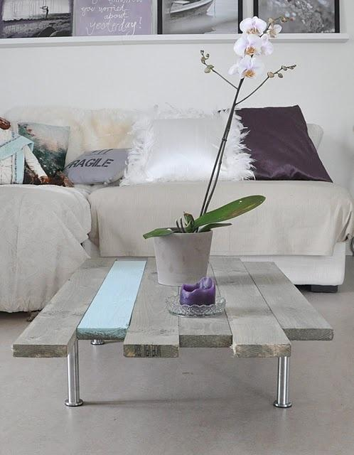 Unique pallet table - with white orchid on it