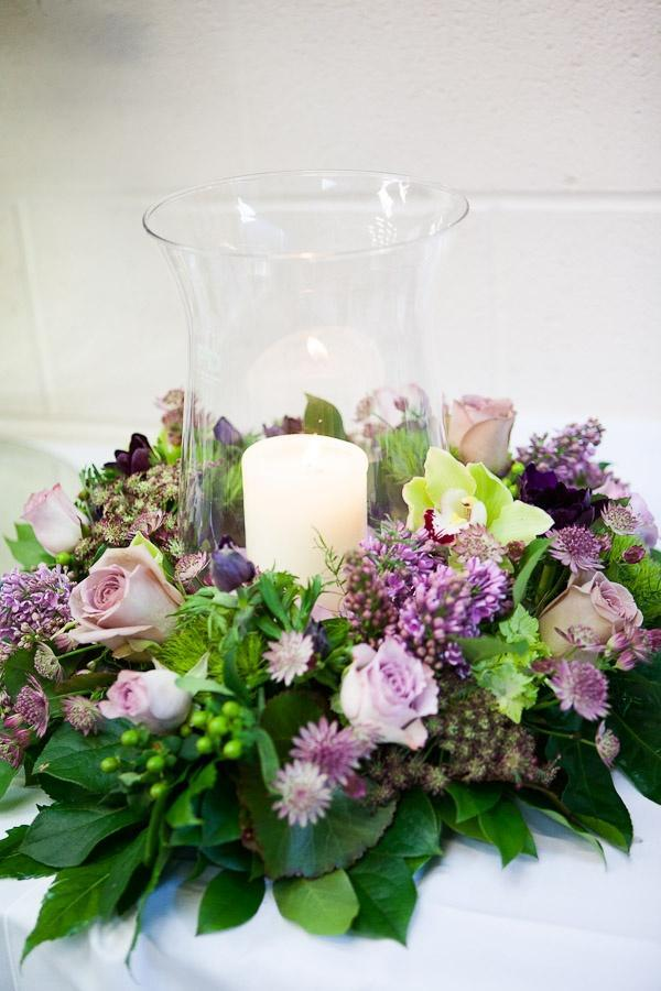 Vase centerpiece - with wreath of flowers