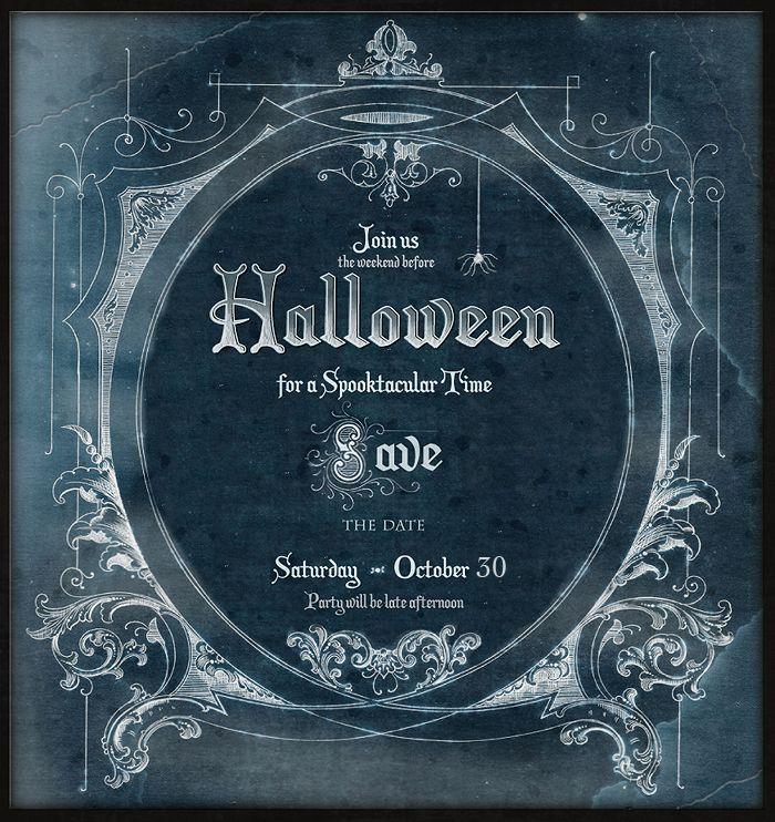 Vintage Halloween invitation - looking like a scene from old movie