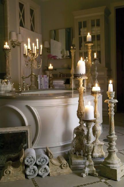 Vintage classic candleholders - for aristocratic bathroom interior
