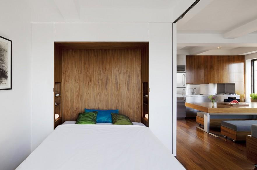 Wall Bed Inside A Small Contemporary Bedroom